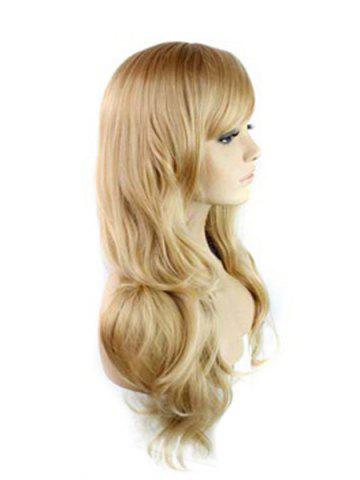 Fancy Trendy Side Bang Noble Long Big Wavy Blonde Brown Mixed Synthetic Capless Wig For Women - COLORMIX  Mobile