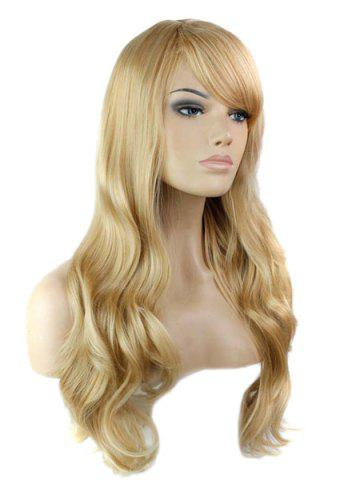 Affordable Trendy Side Bang Noble Long Big Wavy Blonde Brown Mixed Synthetic Capless Wig For Women - COLORMIX  Mobile