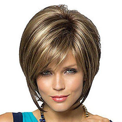 Outfit Fashion Side Bang Charming Short Straight Dark Brown Mixed Blonde Heat Resistant Synthetic Capless Wig For Women