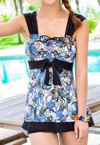 Affordable Stylish Sweetheart Neck Sleeveless Printed Women's Swimwear