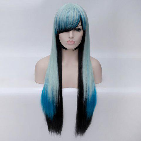 Discount Fashion Charming Ombre Side Bang Long Straight Heat Resistant Synthetic Cosplay Wig For Women - MULTI  Mobile