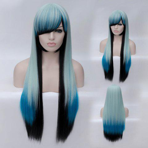 Chic Fashion Charming Ombre Side Bang Long Straight Heat Resistant Synthetic Cosplay Wig For Women MULTI
