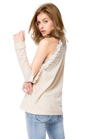 Sale Stylish Round Neck Long Sleeve Hollow Out Laciness Women's Sweatshirt - 2XL APRICOT Mobile