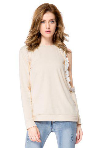 Latest Stylish Round Neck Long Sleeve Hollow Out Laciness Women's Sweatshirt - L APRICOT Mobile
