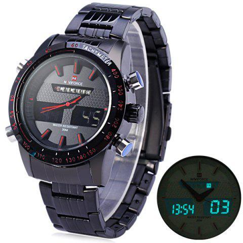 Hot Naviforce 9024 Dual Movt Male Cool Watch with Date Day Function Water Resistance