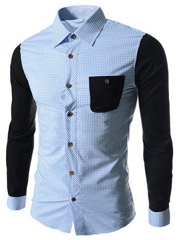 Discount Concise Slimming Checked Splicing Turn-down Collar Color Block Long Sleeves Men's Shirt