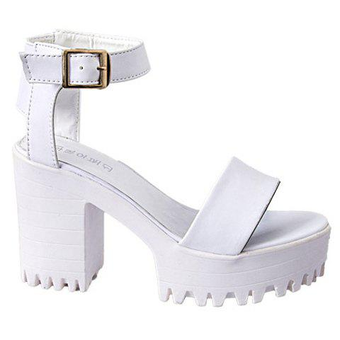 Outfits Fashionable Chunky Heel and Solid Color Design Women's Sandals