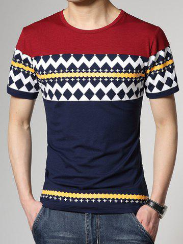 Trendy Fashion Round Neck Slimming Color Block Ethnic Geometric Print Short Sleeve Cotton Blend T-Shirt For Men