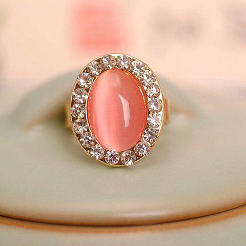 Faux Opal Rhinestone Decorated Oval Shape Ring - Golden - One-size