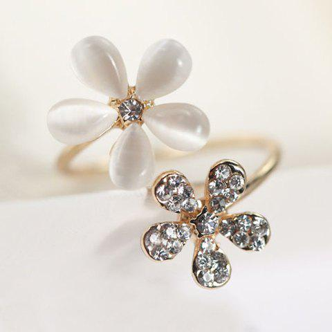 Discount Faux Opal Rhinestone Embellished Flower Ring - ONE-SIZE GOLDEN Mobile