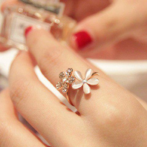 Chic Faux Opal Rhinestone Embellished Flower Ring - ONE-SIZE GOLDEN Mobile