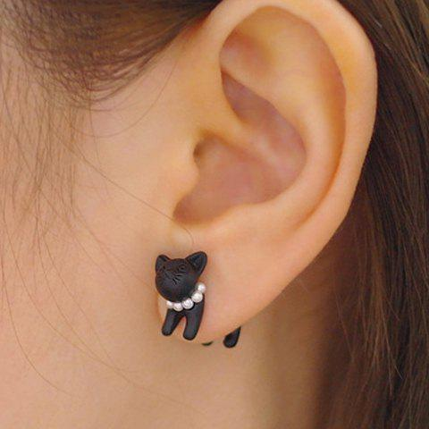 ONE PIECE Artificial Pearl Cat Shape Design Earring - Black