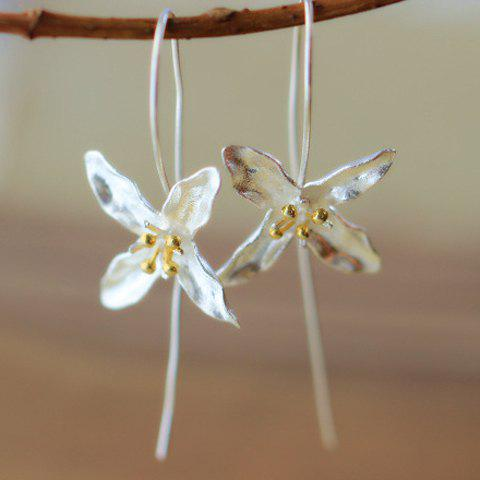 Store Pair of Four-Petal Flower Alloy Earrings
