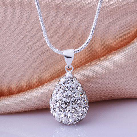 Sale Water Drop Rhinestone Pendant Necklace WHITE