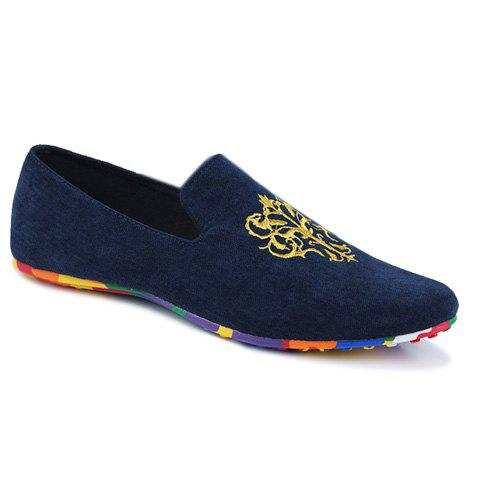 Sale Trendy Suede and Floral Print Design Men's Loafers - BLUE 42 Mobile