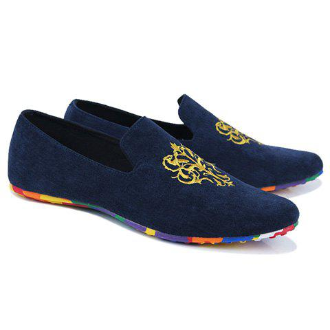 Discount Trendy Suede and Floral Print Design Men's Loafers - BLUE 42 Mobile