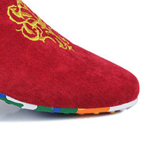 Best Trendy Suede and Floral Print Design Men's Loafers - 44 RED Mobile