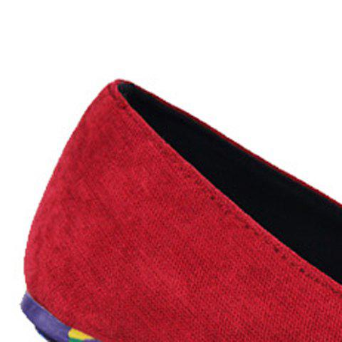 Hot Trendy Suede and Floral Print Design Men's Loafers - 44 RED Mobile