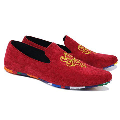 Hot Trendy Suede and Floral Print Design Men's Loafers - 43 RED Mobile