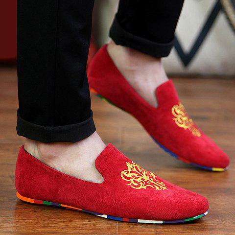 Hot Trendy Suede and Floral Print Design Men's Loafers - 42 RED Mobile