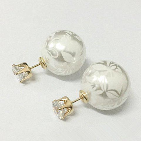 Trendy Pair of Chic Rhinestone Print Round Shape Design Earrings For Women