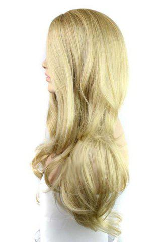 Best Europe Style Side Bang Fluffy Long Loose Wavy Kanekalon Women's Synthetic Blonde Wig - GOLDEN  Mobile