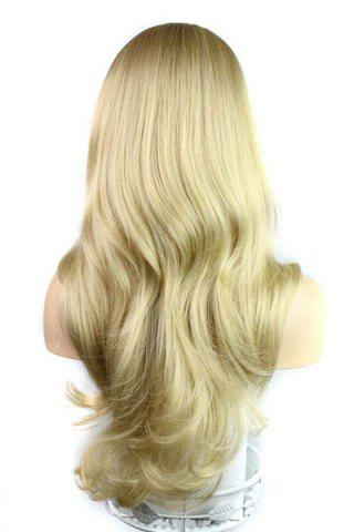 Latest Europe Style Side Bang Fluffy Long Loose Wavy Kanekalon Women's Synthetic Blonde Wig - GOLDEN  Mobile