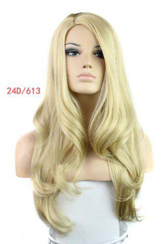 Unique Europe Style Side Bang Fluffy Long Loose Wavy Kanekalon Women's Synthetic Blonde Wig - GOLDEN  Mobile