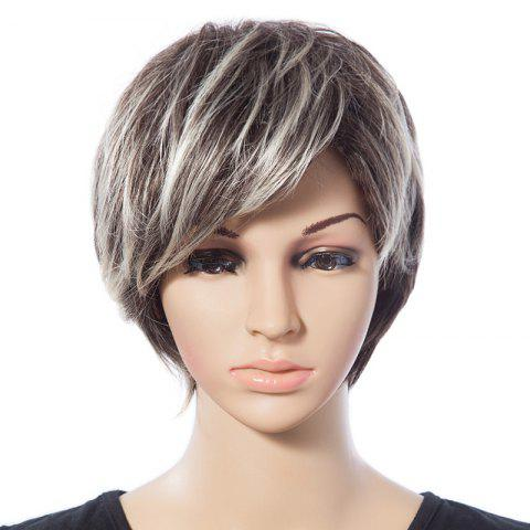 Discount Stylish Short Straight Mixed Color Synthetic Capless Wig With Side Bang For Women