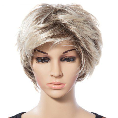 Affordable Casual Style Short Natural Straight Mixed Blonde Synthetic Wig For Women