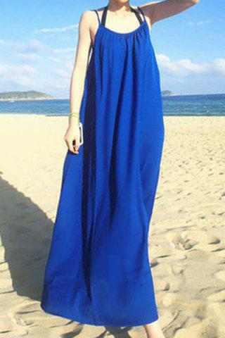 Buy Bohemian Spaghetti Strap Solid Color Loose-Fitting Dress For Women