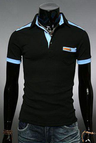 Unique Fashion Color Block Turn-down Collar Pocket Embellished Slimming Short Sleeves Men's Polo T-Shirt