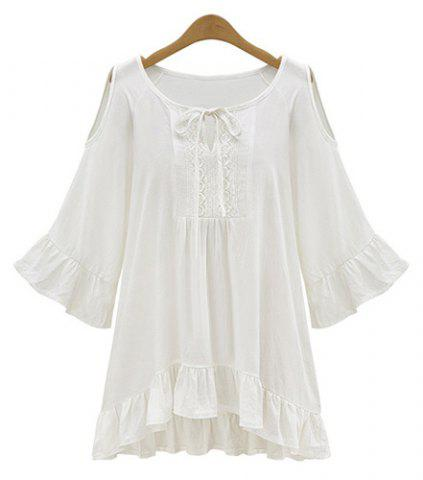 Scoop Neck Hollow Out Ruffle Peasant Blouse - WHITE XL