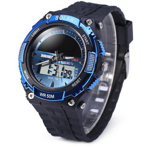 New Skmei 1049 Solar Power Army LED Watch Date Week Dual-movt 5ATM Water Resistant Military Wristwatch for Sports - BLUE  Mobile