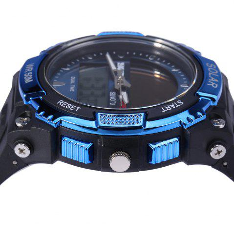 Hot Skmei 1049 Solar Power Army LED Watch Date Week Dual-movt 5ATM Water Resistant Military Wristwatch for Sports - BLUE  Mobile
