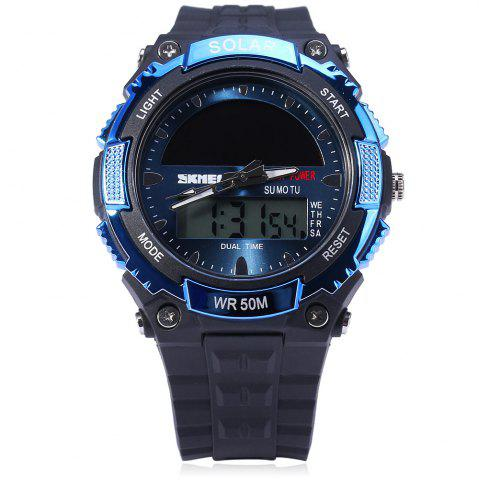 Store Skmei 1049 Solar Power Army LED Watch Date Week Dual-movt 5ATM Water Resistant Military Wristwatch for Sports - BLUE  Mobile