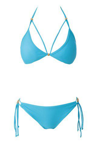 Affordable Sexy Halter Blue Lace-Up Women's Bikini Set