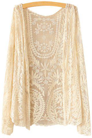 ONE SIZE(FIT SIZE XS TO M) BEIGE Collarless Leaves Pattern Lace Long Sleeve Coat