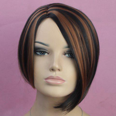 Online Vogue Side Bang Kanekalon Short Mixed Color Straight Fluffy Women's Synthetic Bob Wig