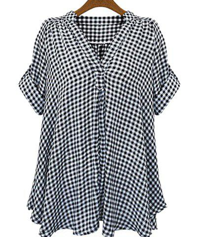 Casual Stand-Up Collar Short Sleeve Plaid Loose-Fitting Women's Blouse - White And Black - 3xl