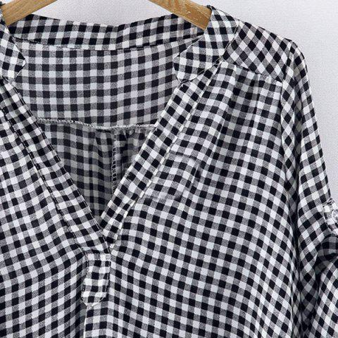 Outfit Casual Stand-Up Collar Short Sleeve Plaid Loose-Fitting Women's Blouse - 2XL WHITE AND BLACK Mobile