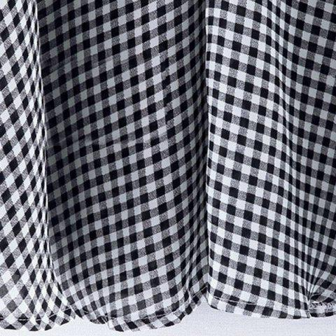 New Casual Stand-Up Collar Short Sleeve Plaid Loose-Fitting Women's Blouse - 2XL WHITE AND BLACK Mobile