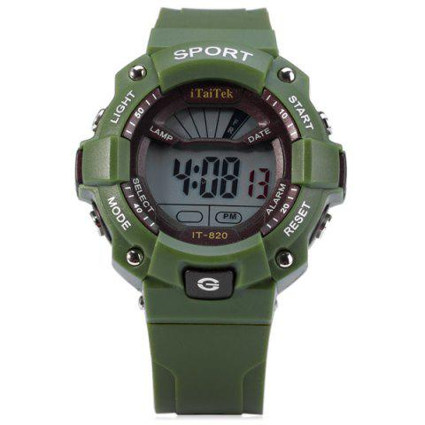 Trendy iTaiTek IT - 820 Sports LED Watch 50M Water Resistant Date Week Alarm Chronograph Wristwatch - GREEN  Mobile