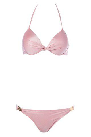 Outfits Sexy Solid Color Push-Up Halter Women's Bikini Set - M PINK Mobile