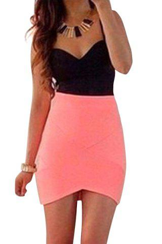 Fancy Sexy Style Spaghetti Strap Color Block Sleeveless Dress For Women
