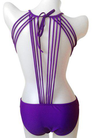 Fashionable Tie-Up Solid Color One-Piece Swimwear For Women - Purple - S