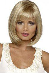 Charming Short Silver Blonde Straight Synthetic Wig With Full Bang For Women -