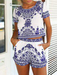 Vintage Scoop Neck Short Sleeve Blouse + Printed Shorts Women's Twinset -