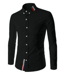 Stylish Shirt Collar Slimming Buttons Design Stripes Splicing Long Sleeve Polyester Shirt For Men - BLACK