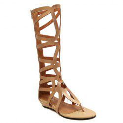 Zip Back High Strappy Gladiator Sandals - GOLDEN